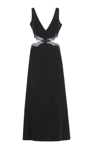 Alma Cutout Lace-Trimmed Silk Maxi Dress