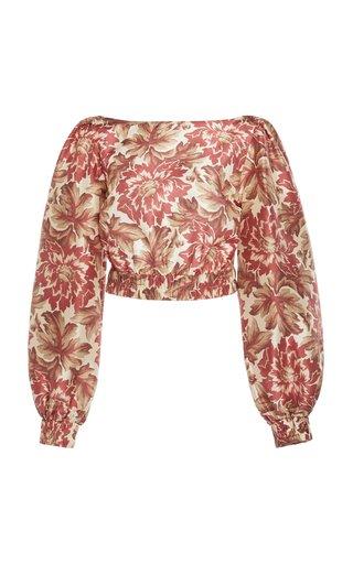 Valetta Floral-Print Silk Blouse