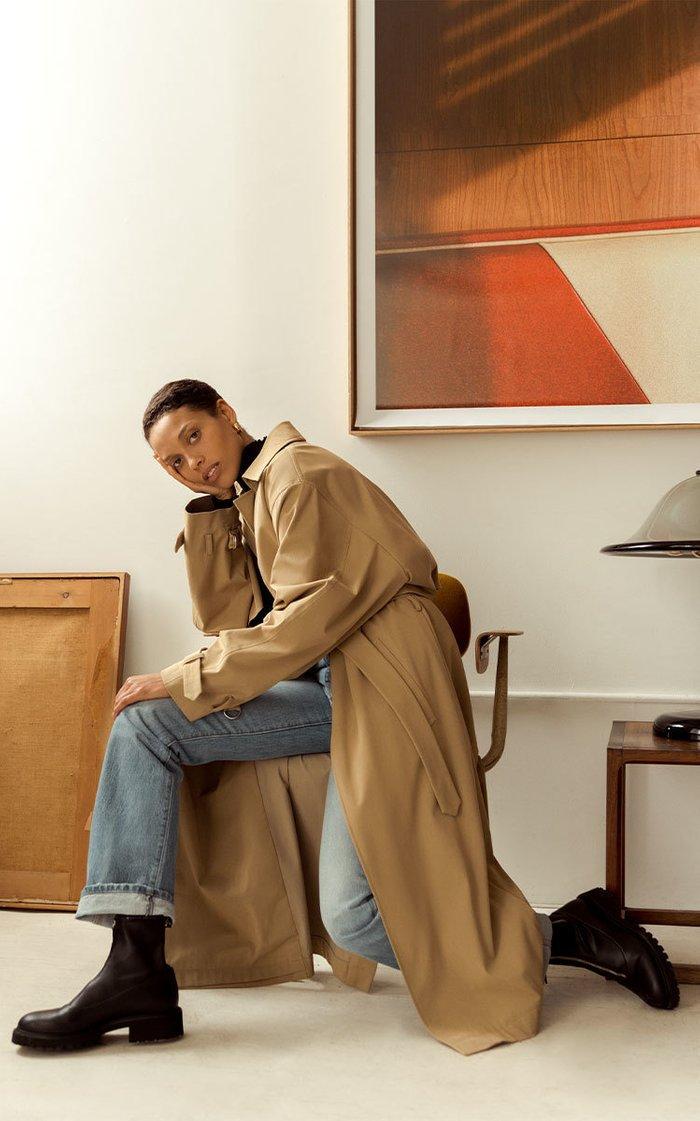 Evelyn Belted Cotton-Gabardine Trench Coat