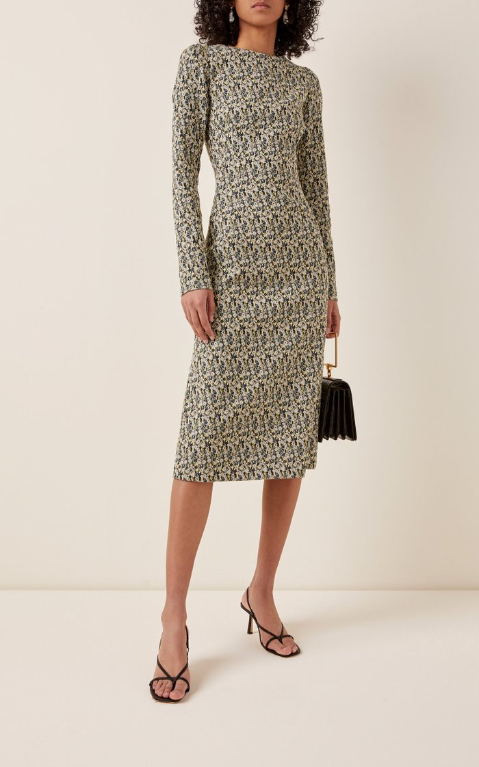 Floral Cotton-Blend Midi Dress