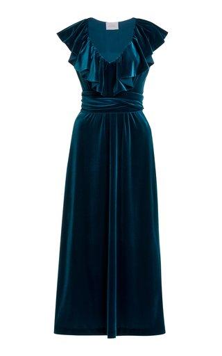 Ruffle-Trimmed Velvet Midi Dress
