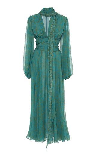 Printed Silk Chiffon Tie-Neck Midi Dress