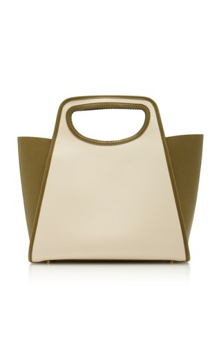 Elleme Cupidon Large Leather-paneled Canvas Tote In Ivory