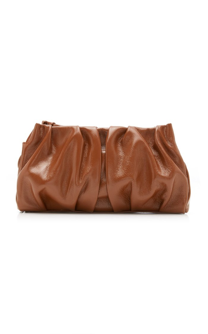 Vague Ruched Patent Leather Shoulder Bag