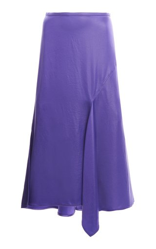 Iride Draped Satin Midi Skirt