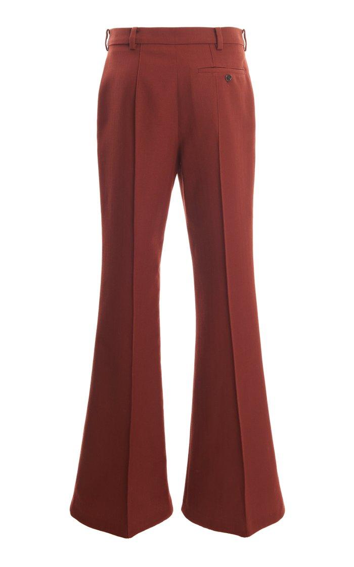 Pietra Pleated Twill Flared Pants