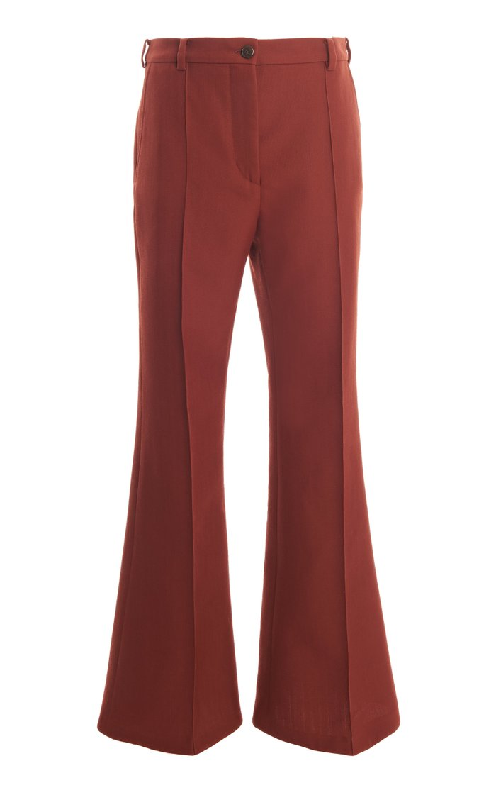 Pietra Pleated Twill Flared Pants