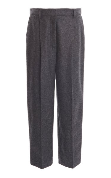 Wool-Flannel Straight-Leg Pants