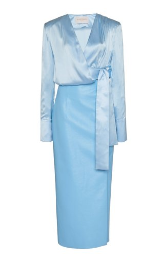 Silk And Faux Leather Midi Wrap Dress