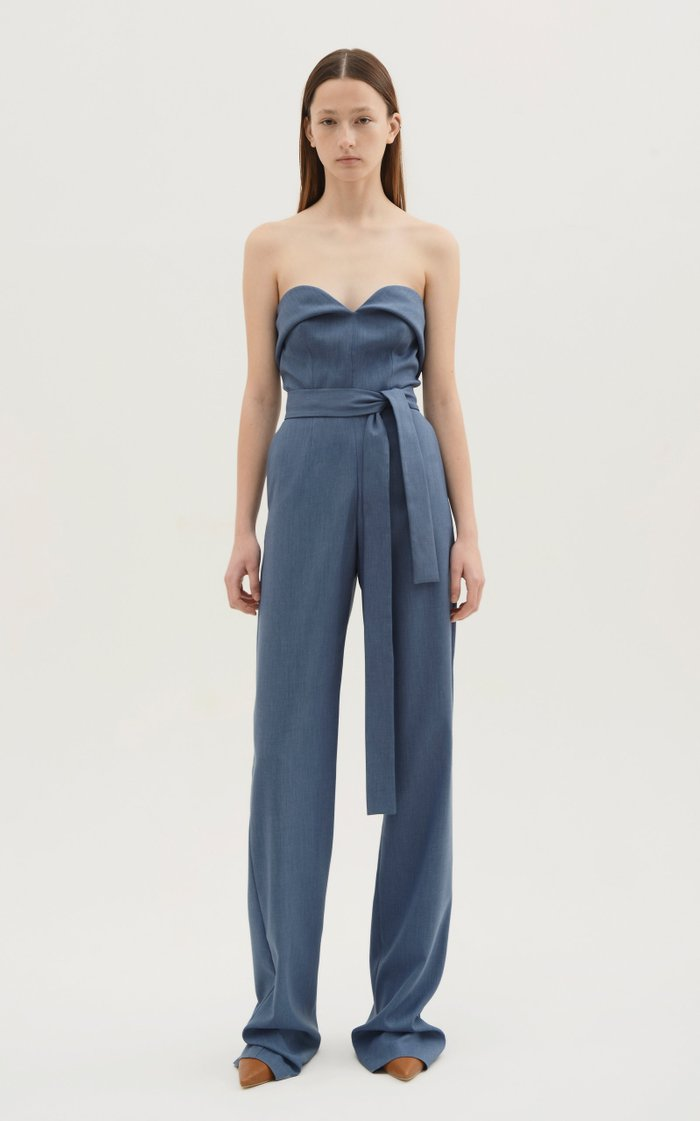 Belted Chambray Strapless Jumpsuit