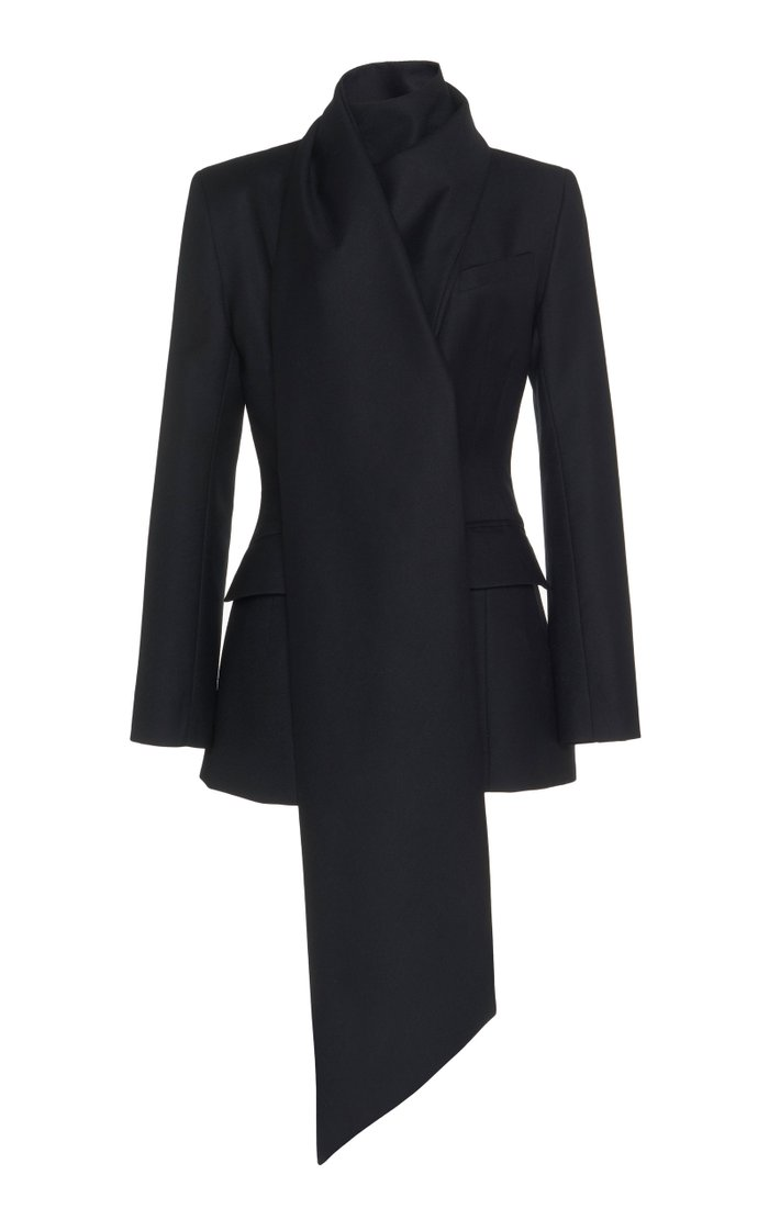 Drape-Detailed Wool Blazer