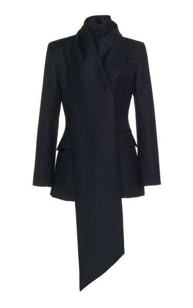 Drape-Detailed Wool Blazer
