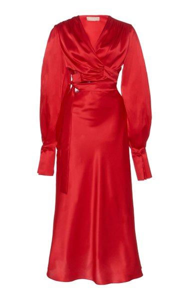 Cut-Out Silk Wrap Dress