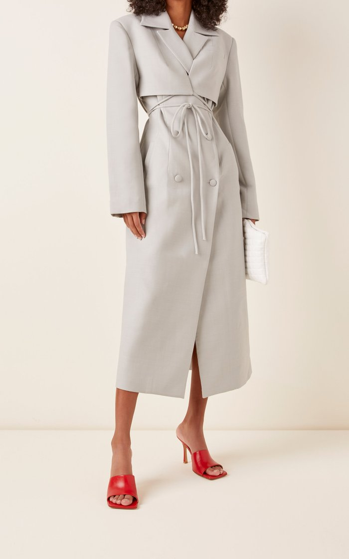 Layered Wool-Blend Double-Breasted Coat