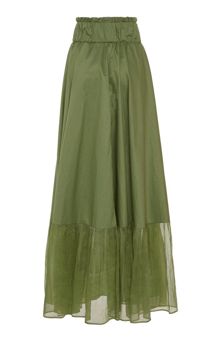 Sage Cotton-Organza Maxi Skirt
