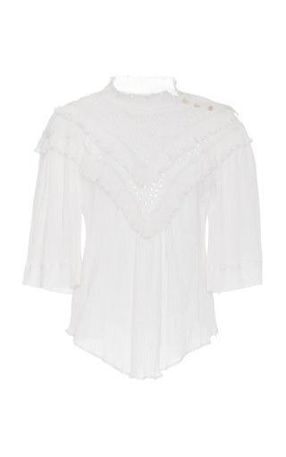 Idoa Ruffled Broderie Anglaise Cotton-Blend Blouse