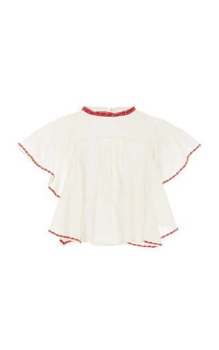Railey Lace-Trimmed Broderie Anglaise Cotton-Voile Blouse