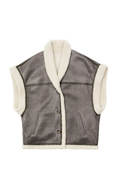 Adelia Cropped Shearling Vest