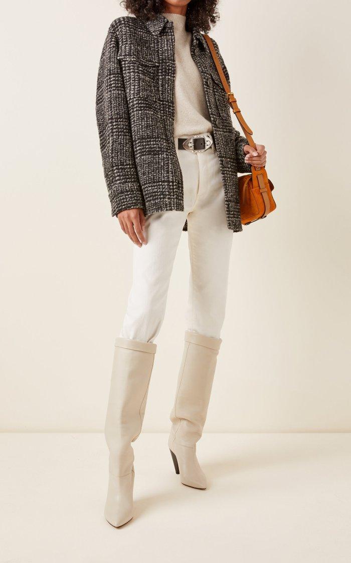 Gastoni Houndstooth Wool-Blend Jacket