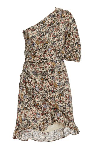 Esthera One-Shoulder Paisley Cotton Mini Dress