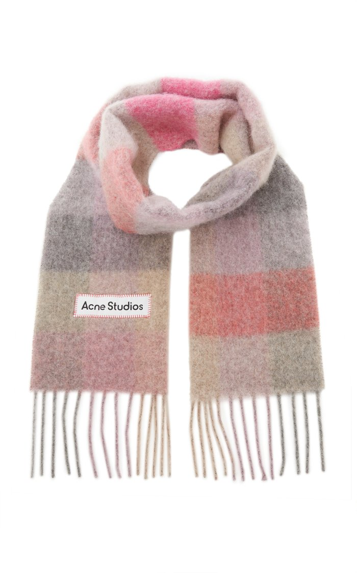 Vally Oversized Fringed Plaid Wool-Blend Scarf