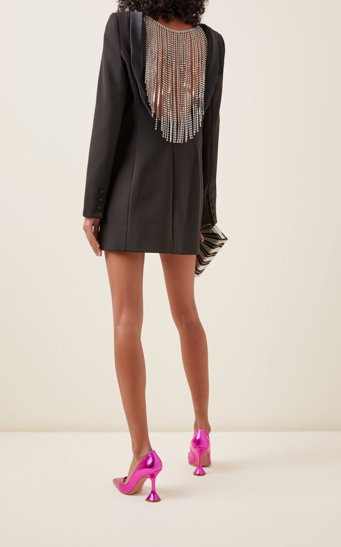 Crystal-Trimmed Wool-Crepe Blazer Dress