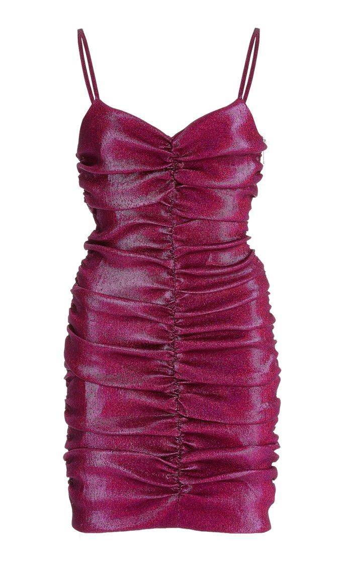 Metallic Ruched Lurex Mini Dress