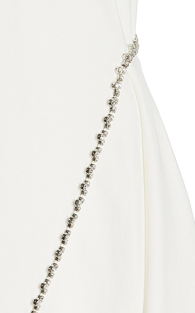 Crystal-Embellished Stretch-Crepe Handkerchief Dress