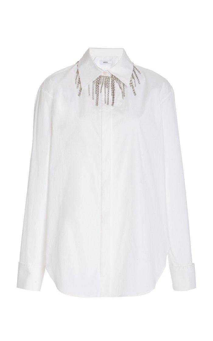 Crystal-Embellished Stretch-Cotton Shirt