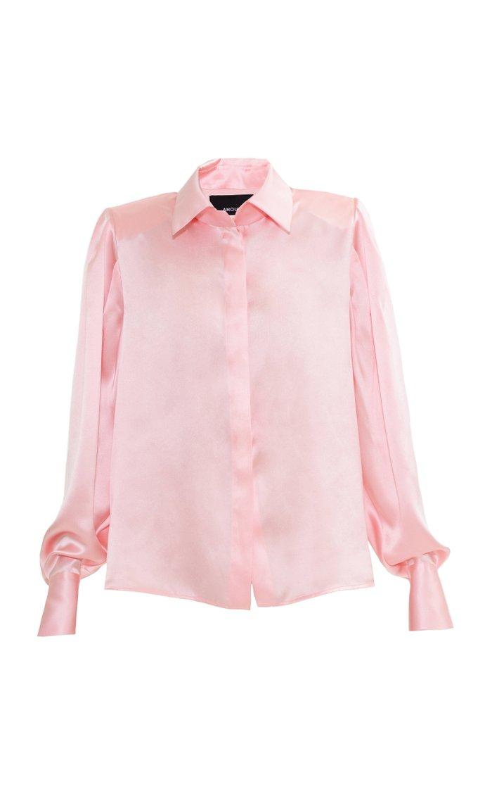 Pink Satin Shirt With Shoulder Pads