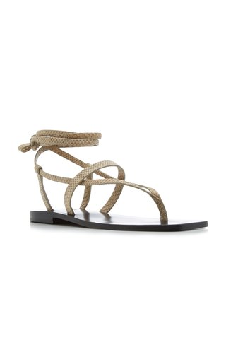 James Snake-Effect Leather Sandals