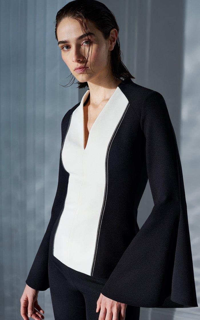 Tanisha Flared-Sleeve Two-Tone Heavy Crepe Top