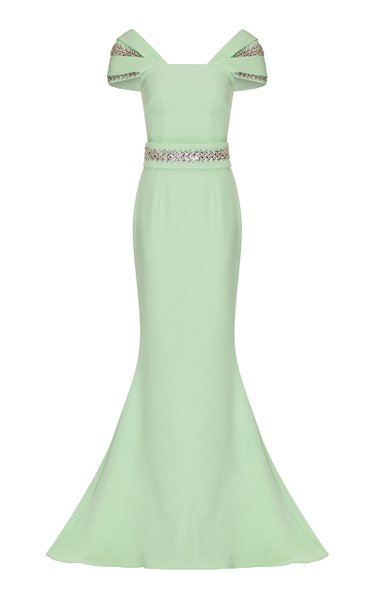 Abigail Crystal-Embellished Stretch-Crepe Gown