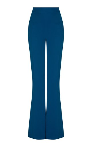 Halluana Stretch-Crepe Flared-Leg Trousers