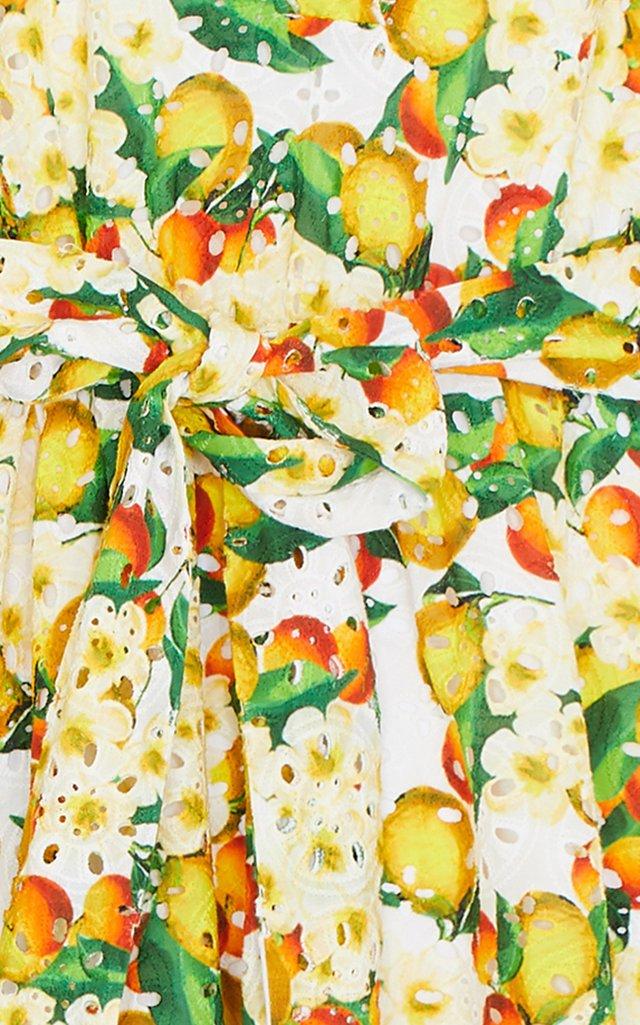 Mia Printed Broderie Anglaise Cotton Midi Dress