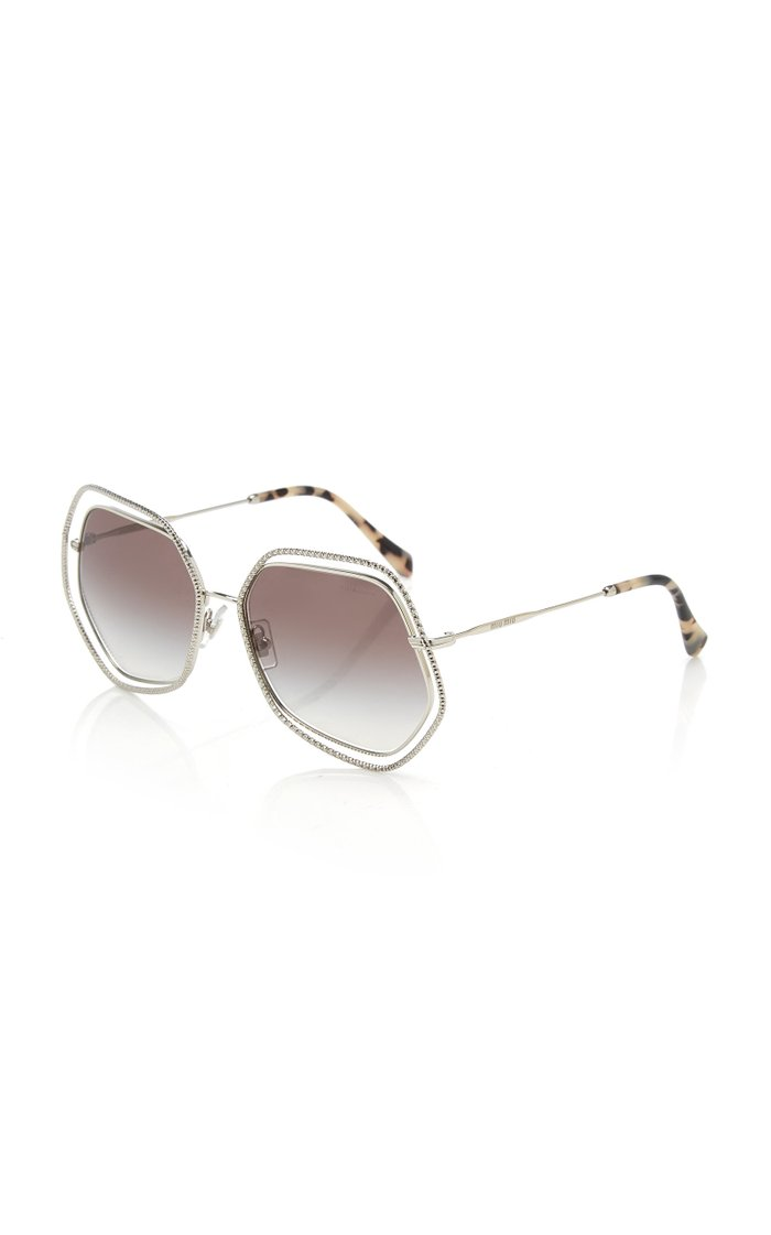 Crystal-Embellished Hexagonal Metal Sunglasses