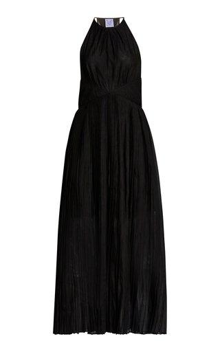 Vanessa Pleated Cotton-Silk Maxi Halter Dress