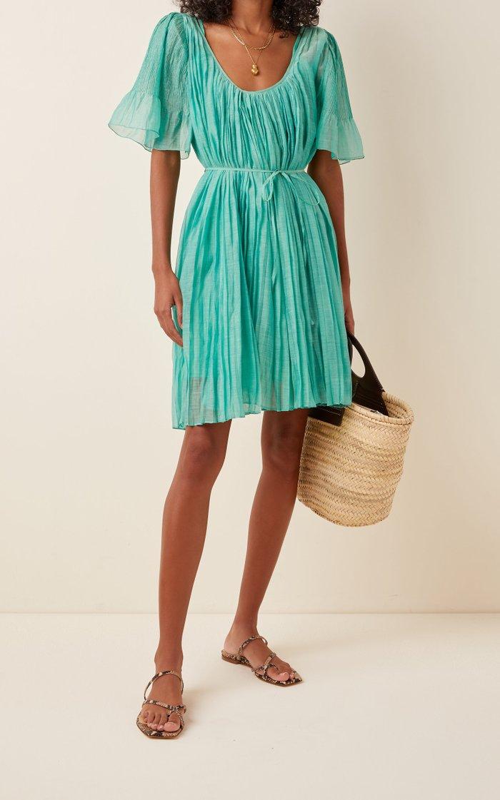 Sparta Pleated Cotton-Silk Mini Dress