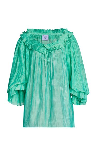 Roussia Pleated Cotton-Silk Top