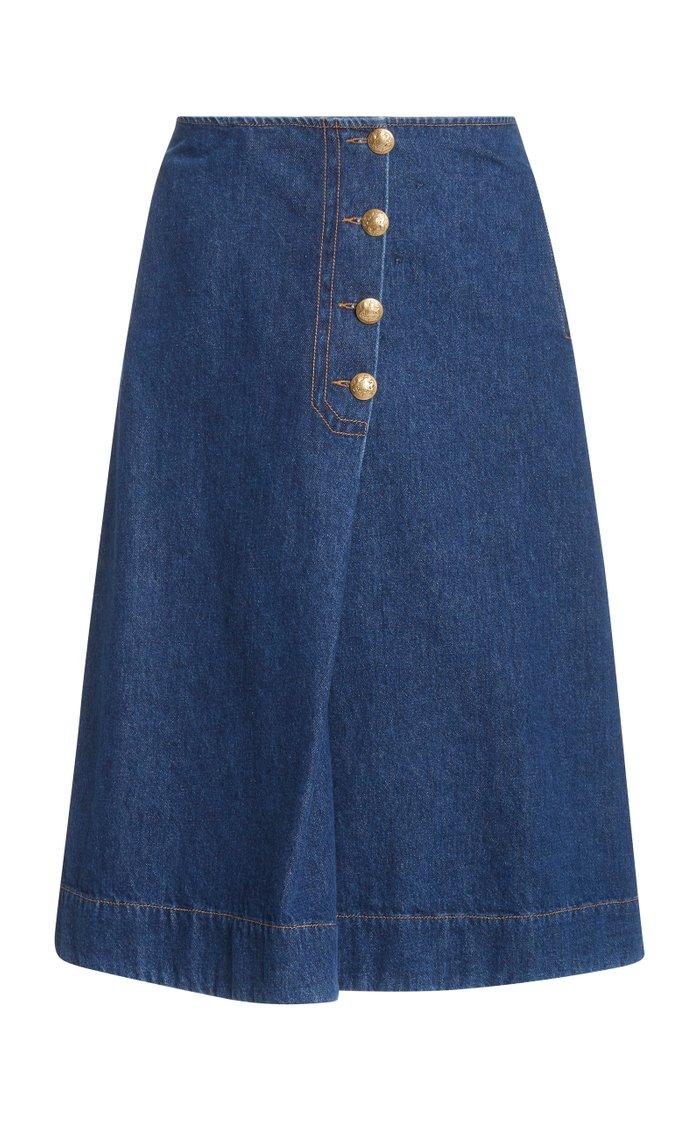 London Denim Wrap Midi Skirt