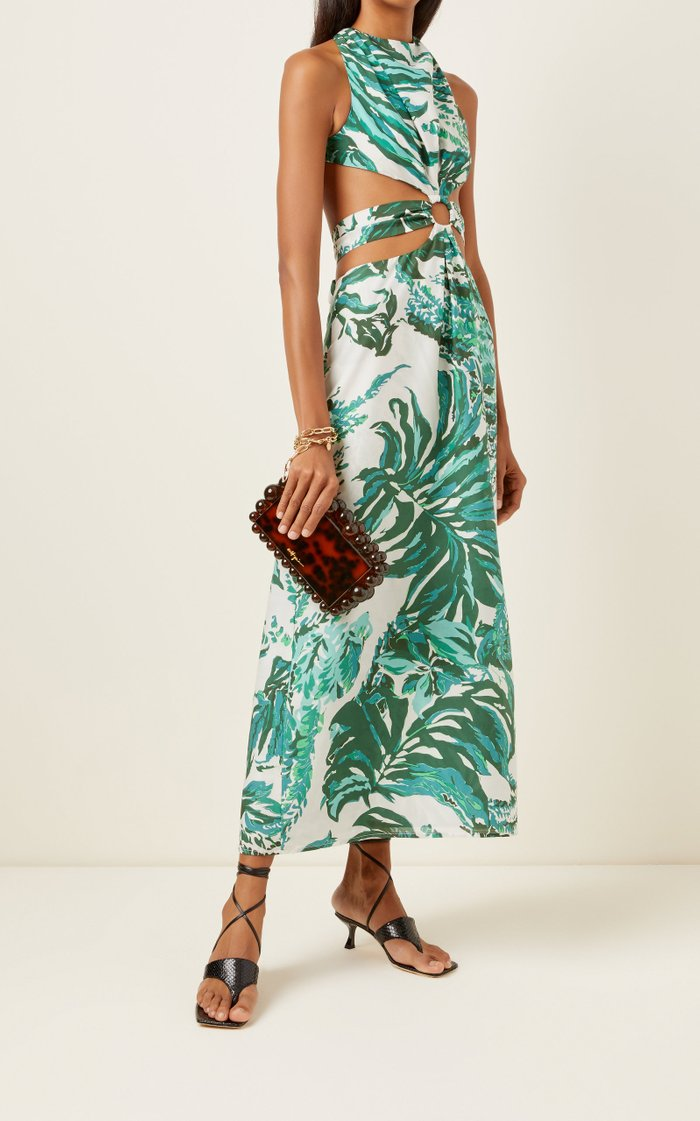 Izabel Cutout Printed Cotton-Modal Voile Maxi Dress