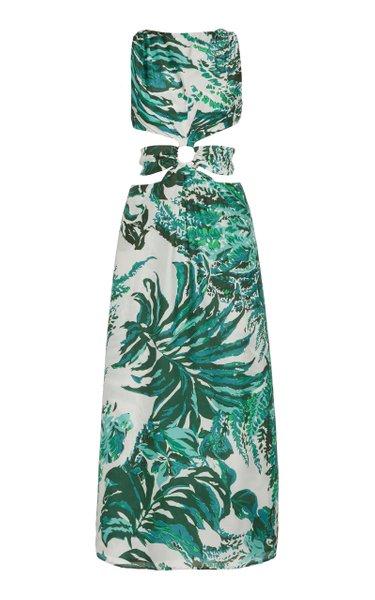 Izabel Cutout Printed Cotton-Modal Voile Maxi Dress
