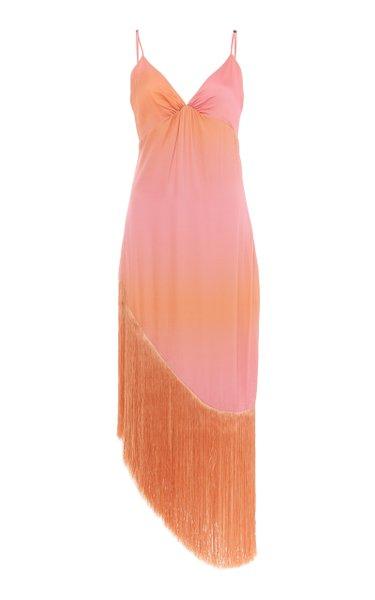 Tiana Fringed Satin-Charmeuse Midi Dress