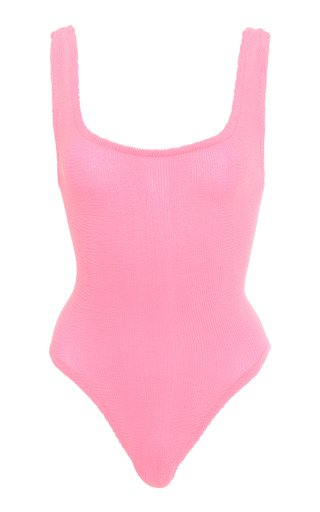 Square-Neck Textured One-Piece Swimsuit