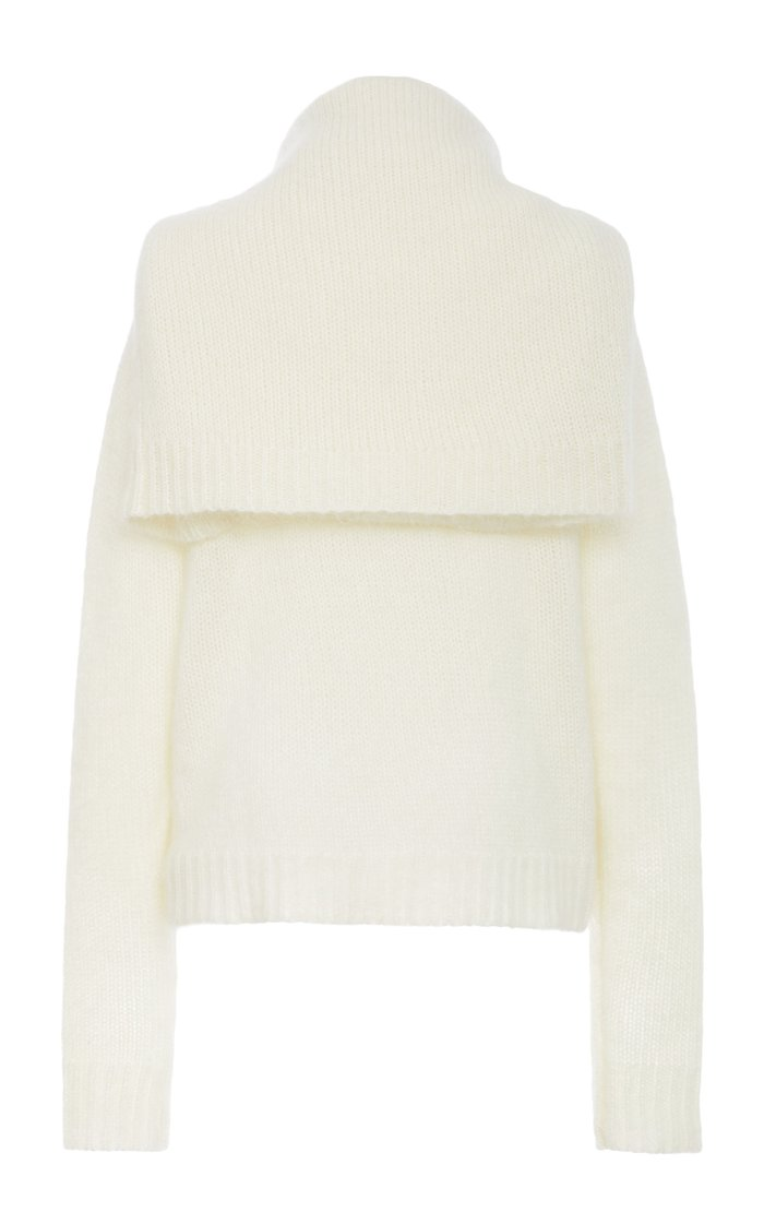Tie-Neck Stretch Wool-Blend Sweater