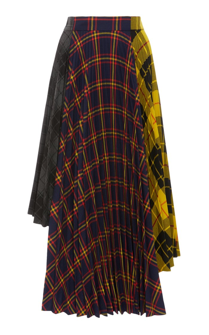 Dual-Print Asymmetric Pleated Jersey-Crepe Skirt