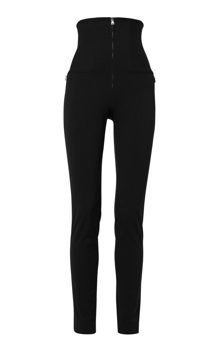 Zip-Detailed Stretch-Jersey Skinny Pants