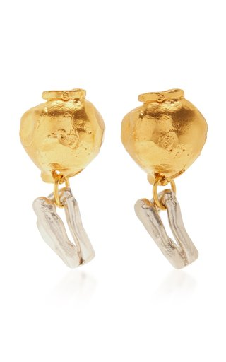 24K Gold-Plated And Sterling Silver Earrings