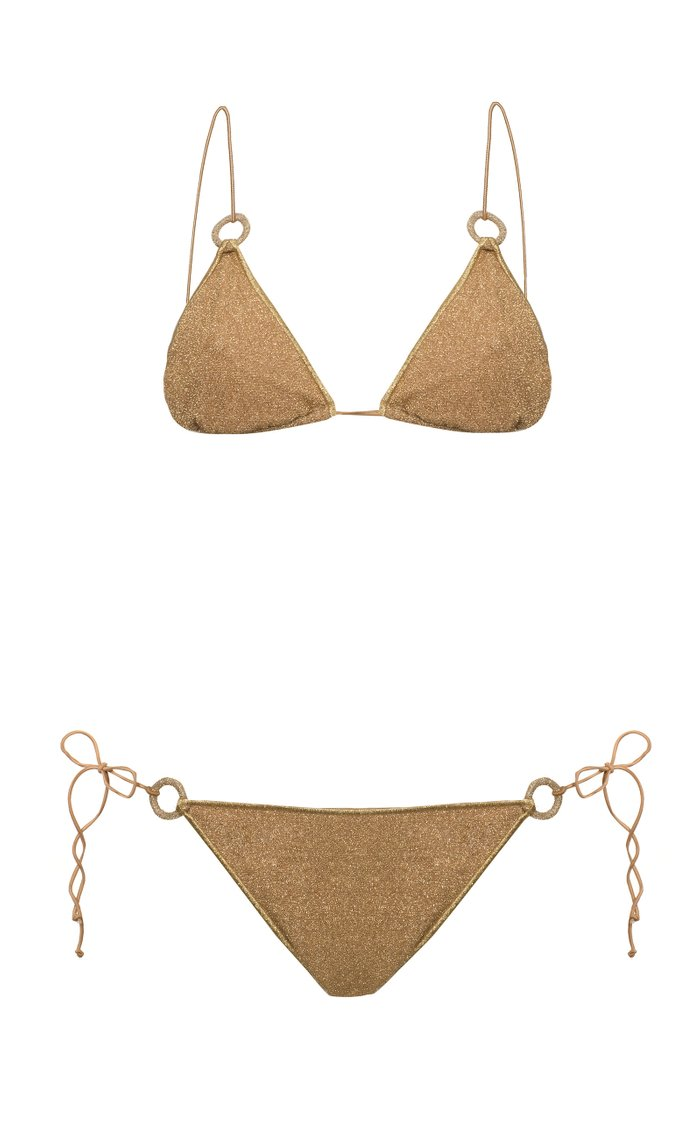 Embellished Stretch-Lurex Bikini Set