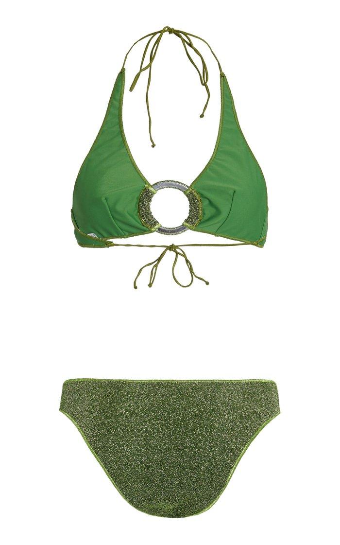 Embellished Stretch-Lurex Bikini Set
